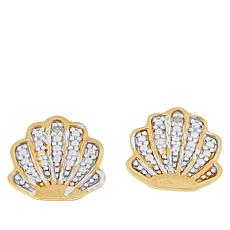 Technibond® Diamond-Accented Seashell Stud Earrings