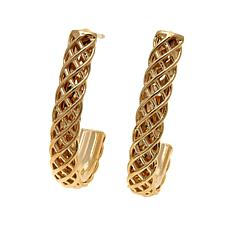 Technibond® Diamond-Cut Cage J-Hoop Earrings