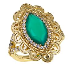 Technibond™ Marquise Green Chalcedony and CZ Ring