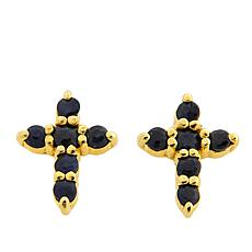 "Technibond® ""Midnight"" Sapphire Small Cross Stud Earrings"