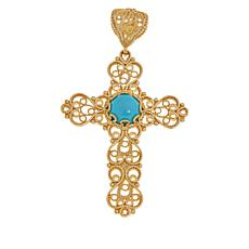 Technibond® Turquoise Filigree Cross Pendant