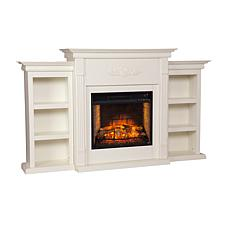 Tennyson Electric Fireplace with Bookcases - Ivory