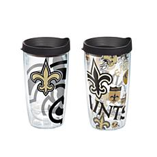 Tervis NFL 16 oz All Over and Genuine Tumbler Set - New Orleans Saints