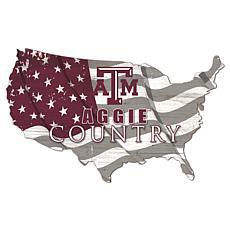 Texas A & M University USA Shape Flag Cutout
