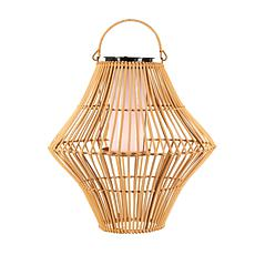 "The Gerson Co. 13.8"" Hanging Solar Flame Effect Bamboo Pendant Light"