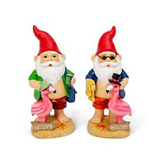 "The Gerson Company 14""H Resin Garden Gnomes with Flamingos Set of 2"
