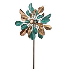 """The Gerson Company 63""""H Metal Leaf Wind Spinner Yard Stake"""