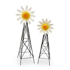 The Gerson Company Metal Sunflower Windmills 2-pack