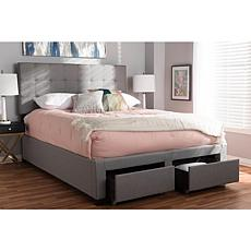 Tibault  Fabric Upholstered Queen Size Storage Bed - Gray