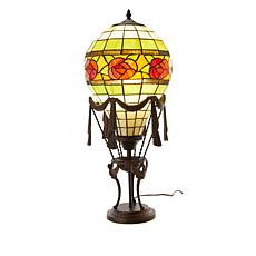 Tiffany-Style Hot Air Balloon Rose Accent Lamp