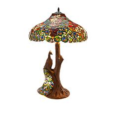 Tiffany-Style Peacock Rose Double Lit Table Lamp