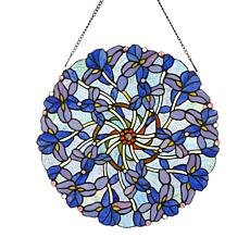 Tiffany-Style Whimsical Iris Art Glass Window Panel