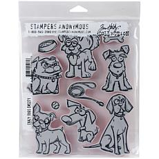 "Tim Holtz Cling Stamps 7"" x 8.5"" - Crazy Dogs"