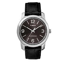 Timex Men's Dial Black Croco Print Leather Strap Watch
