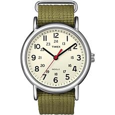 Timex Unisex Weekender Olive Nylon Slip-Through Strap Watch