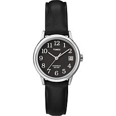 Timex Women's Silvertone Black Dial EZ-Reader Leather Strap Watch