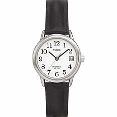 Timex Women's Silvertone EZ-Reader Black Strap Watch