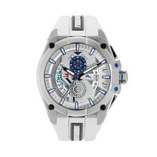 Tommy Bahama Men's Silvertone Barracuda Bay Dual Time Sport Watch