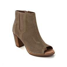 TOMS Majorca Perforated Suede Peep-Toe Bootie