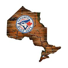 Toronto Blue Jays 24in. Distressed State w/Logo Sign