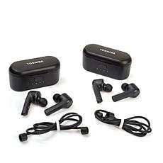 Toshiba Air Pro 2-pack Truly Wireless Sweat-Resistant Earbuds w/Cases