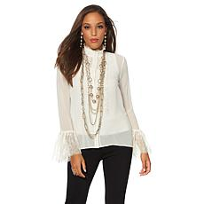 Touch of Cyn by Cyndi Lauper Ruffled Chiffon Blouse