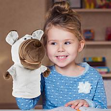 Toy Time Plush Dog Hand Puppet with Movable Mouth and Paws