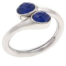 "Traveler's Journey ""Bendy"" Sodalite and Quartz Doublet  Bypass Ring"