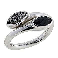 Traveler's Journey Black Agate and Onyx Bypass Ring