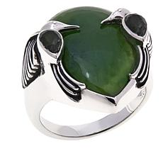 "Traveler's Journey Jade & Quartz  ""Hummingbird"" Ring"