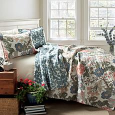 Triangle Home Fashions Sydney Quilt Green and Blue 3-Piece Set - King