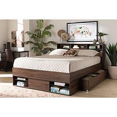 Tristan 1-Drawer Queen Size Platform Storage Bed with Shelves