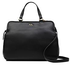 Tula England Medium Zip-Top Grainy Leather Satchel