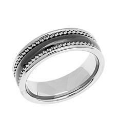 "Tungsten Men's ""Black & White"" 2-Tone 7mm Wedding Band"
