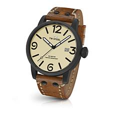 TW Steel Men's Maverick MS41 45mm Cream Dial Camel Leather Strap Watch