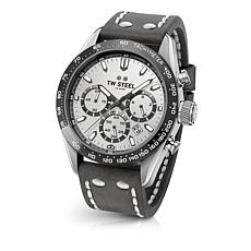 "TW Steel ""Tech Sport"" Silvertone Dial Leather Strap Chronograph Watch"