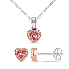 Two-Tone Created Pink Sapphire Heart Pendant and Stud Earrings