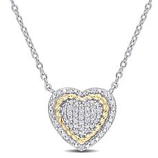 Two-Tone Sterling Silver 0.23ctw Diamond Rope Heart Pendant with Chain