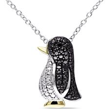 Two-Tone Sterling Silver Black Diamond Penguin Pendant