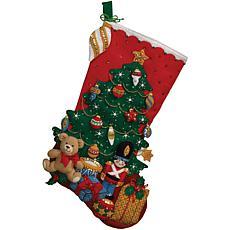 "Under The Tree 18""L Stocking Felt Applique Kit"