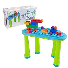UNiPLAY Soft Building Table with 25-Piece Building Blocks - Blue