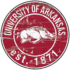 University of Arkansas Distressed Round Sign