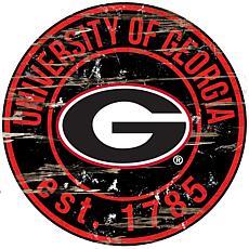 University of Georgia Distressed Round Sign