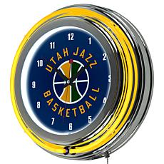 Utah Jazz Double Ring Neon Clock