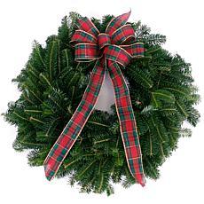 """Van Zyverden Fresh Cut Blue Ridge Mountain 16"""" Fraser Fir Wreath w/Bow"""