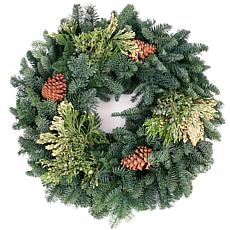 "Van Zyverden Fresh Cut Pacific Northwest 20"" Mixed Wreath w/Pine Cones"