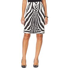 Vanessa Williams Faux Suede Animal-Print Pencil Skirt
