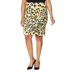 Vanessa Williams Faux Suede Animal-Print Pencil Skirt