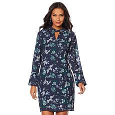 Vanessa Williams Keyhole-Neckline Printed Dress