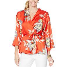 Vanessa Williams Printed Charmeuse Floral Kimono